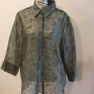Alfred Dunner sheer button down shirt